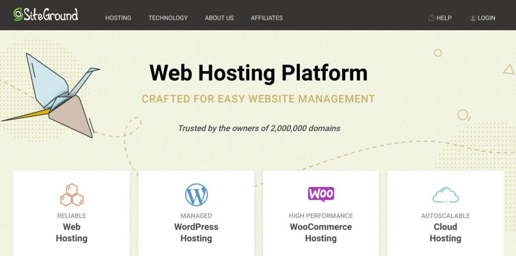 siteground webshosting page preview