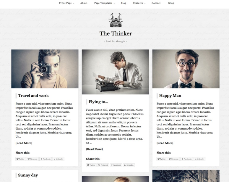 thinker one of the better wordpress themes for writers