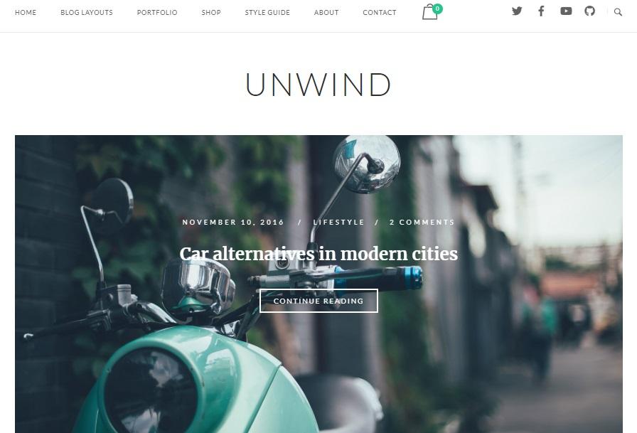 unwind free wordpress blog theme preview