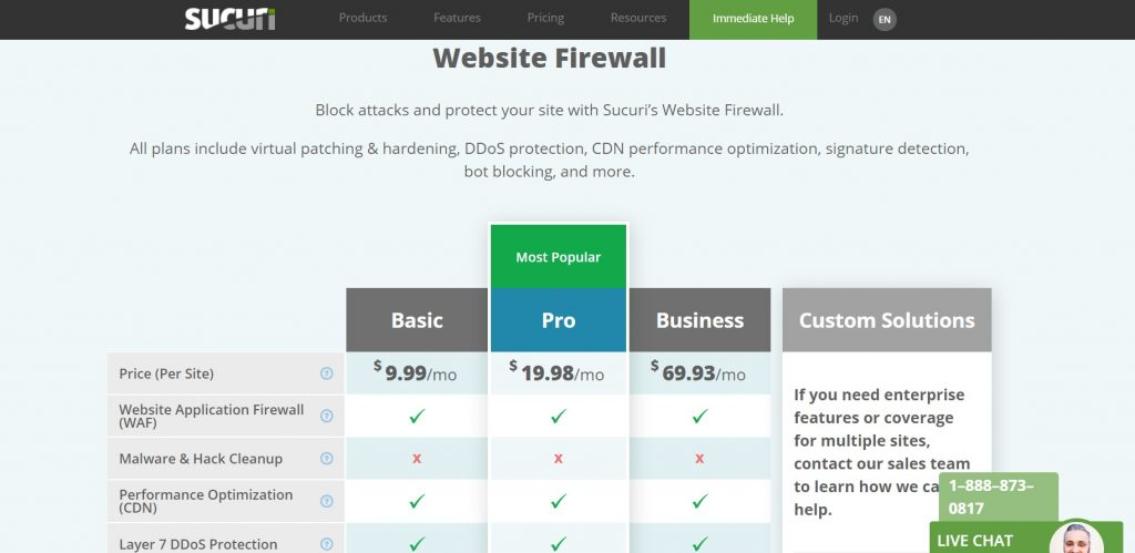 website firewall pricing page layout