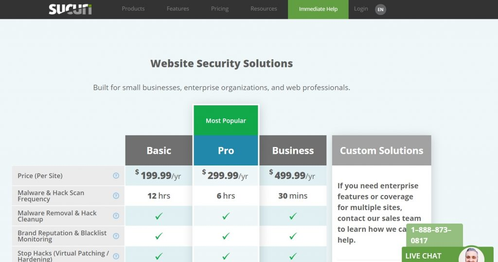 website security platform pricing page preview